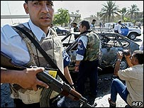 Scene of car bombing in Baghdad