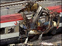 Bomb-destroyed train in Madrid