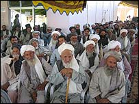 Tribal elders at a Kandahar election meeting
