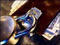 Wallet secured by padlock, Eyewire