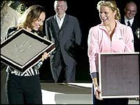 Martina Hingis and Kim Clijsters.