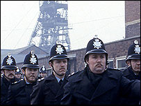Policemen during the miners' strike