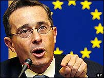 Uribe addressing the European Parliament in February. Several MPs protested at his visit