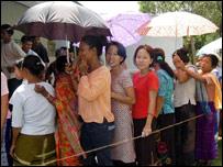 Voters queuing in Arunachal Pradesh