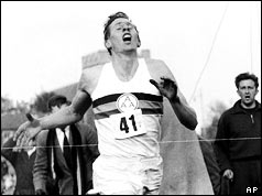 Roger Bannister finishing the race