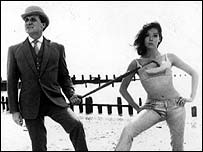 Patrick Macnee as John Steed and Diana Rigg as Emma Peel in ITV's hit cult TV show The Avengers