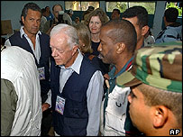 Jimmy Carter inspects a polling station in Caracas, Venezuela, in August 2004