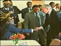 Jack Straw and Robert Mugabe