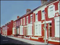 Row of terraced houses, BBC