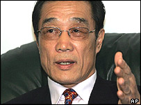 North Korea's Vice Foreign Minister Choe Su-hon speaks to reporters at the office of his UN Mission in New York, Monday, Sept. 27, 2004