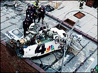 Remains of WNBC-TV news helicopter on a rooftop