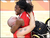 Britain's Jon Pollock and Ade Adepitan celebrate victory in Athens