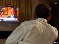 عراقيون يشاهدون حوار بوش