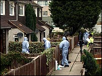 Forensic teams at the house in Tottenham