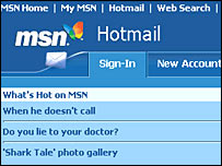 Screengrab of Hotmail site