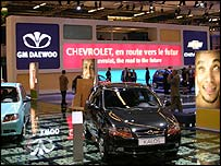 GM Daewoo stand displaying the Chevrolet Kalos at the Paris Motor Show 2004
