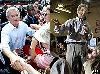 Los candidatos presidenciales George W. Bush y John Kerry