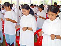 Women members of the National Liberation Front of Tripura taking oath of allegiance to India at surrender ceremony (picture: Bapi Roychoudhury)