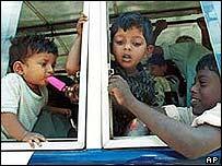 Sri Lankan bus passengers