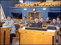 Visitors to Estonia's parliament