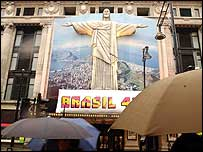 A replica of Rio's Christ the Redeemer in London's Oxford St