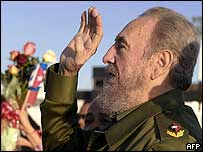 Fidel Castro waves goodbye to a visitor at Havana airport
