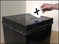 A vote being placed in a ballot box