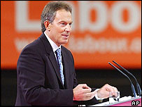Tony Blair delivers his speech at the Labour conference