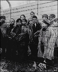 Inmates at Auschwitz, 1945