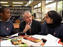 Ofsted chief David Bell met pupils at Sir John Cass school