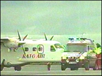 A plane at Bodoe airport, Norway, after an attack on board