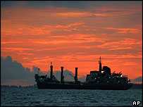 Oil tanker carrying crude oil, Port Harcourt, Nigeria