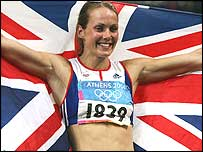 Kelly Sotherton celebrates her bronze medal at the Athens Olympics