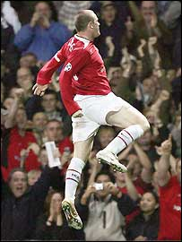 Wayne Rooney celebrates scoring against Fenerbahce