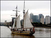 Replica of HMS Pickle sailing through London