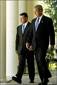 Rey Abdullah II de Jordania y presidente de Estados Unidos, George W. Bush