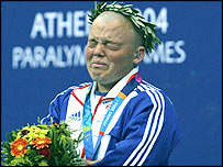 An emotional Gareth Duke receives his gold medal in Athens