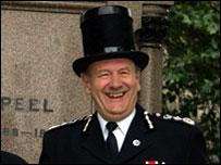 Commissioner Sir John Stevens in a Peeler's hat from 1829