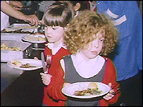 Girls with school dinners