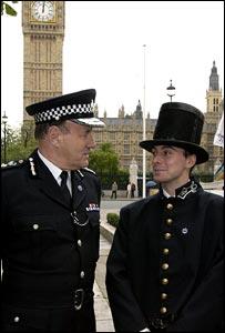 Sir John Stevens and officer in 1829 uniform