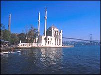 View of Ortakoy Camii mosque and the Bosphorus bridge in Istanbul, Turkey