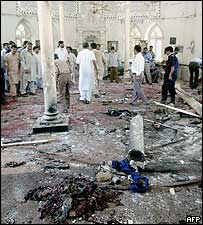 Wreckage of mosque attack