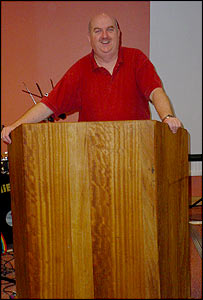 The Reverend Ray Smith and the bar top pulpit