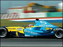 Fernando Alonso of Spain in the Renault which uses Michelin Tyres