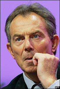 UK Prime Minister Tony Blair at Labour Party's conference in Brighton