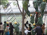 A group of North Koreans try to enter the Canadian Embassy using ladders to scale a spiked fence around the compound in Beijing. Wednesday, Sept. 29, 2004