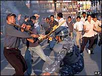 Protesters and police clash in Kathmandu. Archive picture