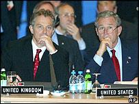 Tony Blair (left) and George Bush