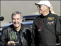 A jubilant Burt Rutan (l) with pilot Mike Melvill