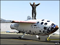 SpaceShipOne pilot Mike Melvill celebrates